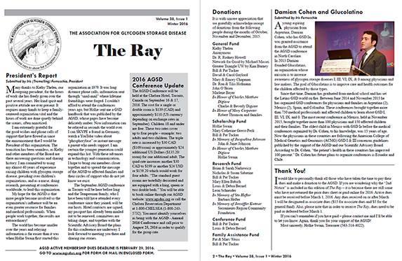 GLUCOLATINO en la revista THE RAY (Asociación Americana de Glucogenosis Hepáticas)